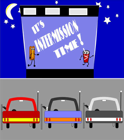 retro drive in intermission time  Stock Vector - 9930367