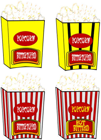 popcorn in various styles and eras Vector
