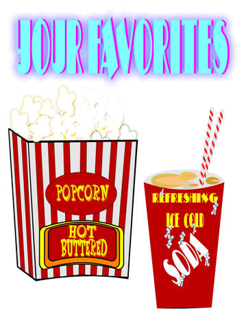 popcorn and soda retro Vector