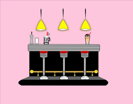 old fashioned: retro diner countertop Illustration