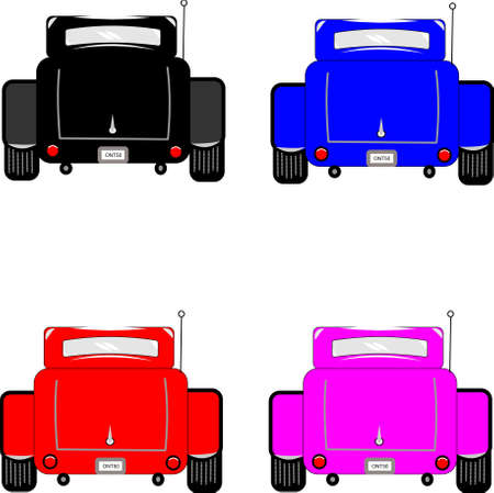 car isolated: hot rod cars rear view on white