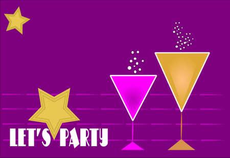 lets party invitation retro style Stock Vector - 9935841