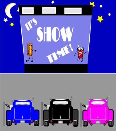 カスタムカー駐車でのドライブで時間を表示  イラスト・ベクター素材
