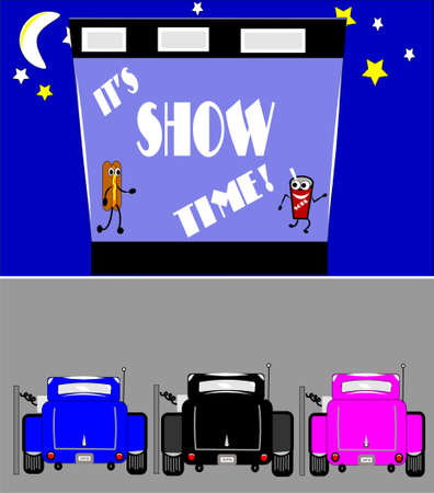 show time at drive in with hotrods parked Stock Vector - 9935839