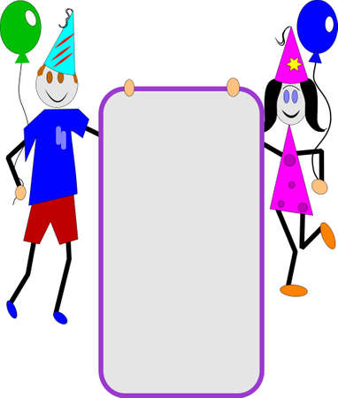 child holding sign: childrens party invitation Illustration