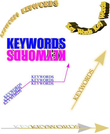 3d sleutelwoorden op wit