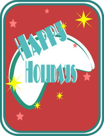 retro happy holidays card Stock Vector - 9952985