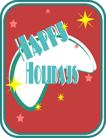 happy holidays card: retro happy holidays card  Illustration