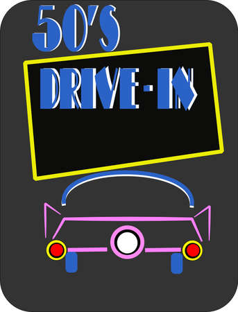 50s drive in on black with car Stock Vector - 9952983