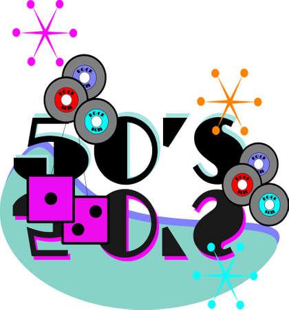 cincuenta rock and roll elemnts Ilustración de vector