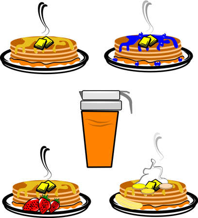 stacks of pancakes with fruit Vector