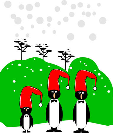 merry christmas penquins Vector