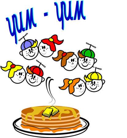 yum yum pancakes with kids  Stock Vector - 10045747