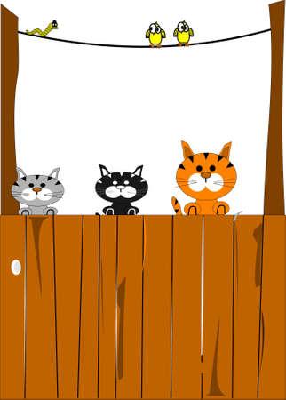 cartoon poes: Diners te wachten voor katten en vogels