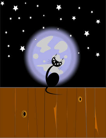 black cat on fence in front of moon
