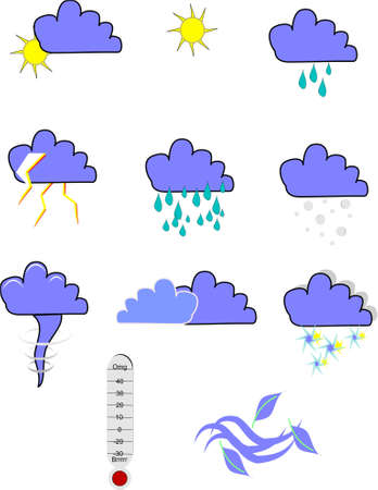 weather icons on white