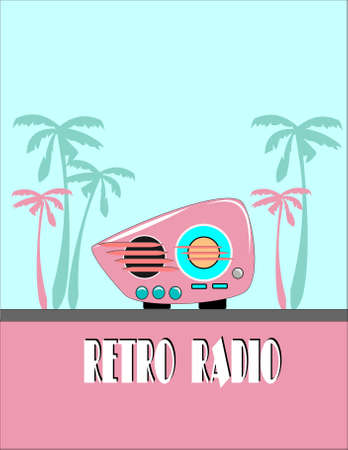 レトロ: ヤシの木とレトロなラジオ  イラスト・ベクター素材