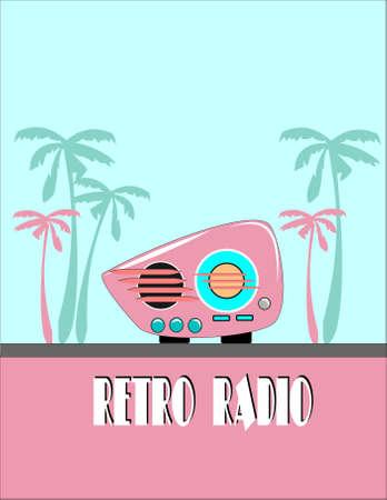 boite a musique: radio r�tro avec palmes. Illustration