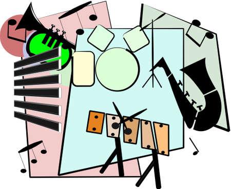 jazz club: ensemble de jazz dans le style r�tro Illustration