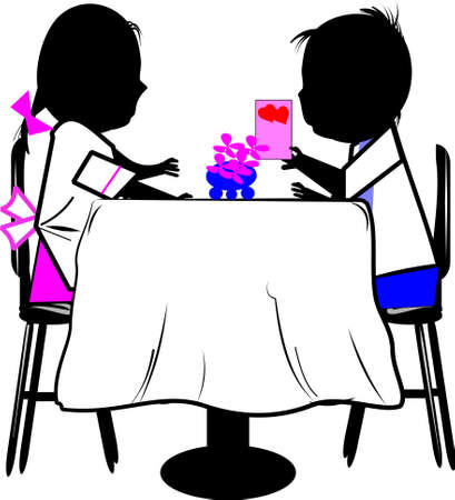 two children at table  with valentines card