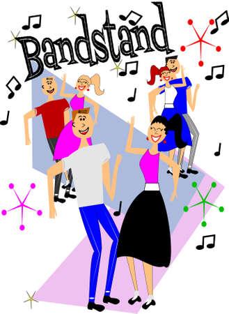 era: bandstand  dancers Illustration