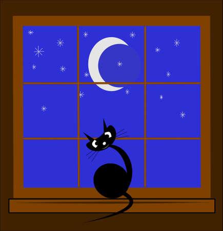 밤에 창에 고양이 일러스트