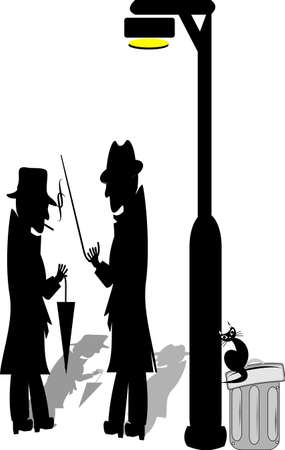 lampposts: men under lamppost  Illustration