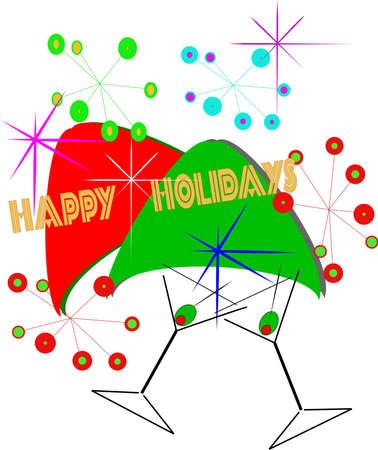 happy holidays greeting retro style Stock Vector - 10257238