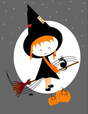 sorci�re halloween: lil sorci�re sur un balai b�ton