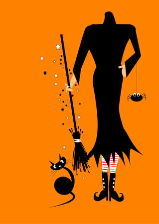 halloween spider: paste your own head on witch illustration Illustration