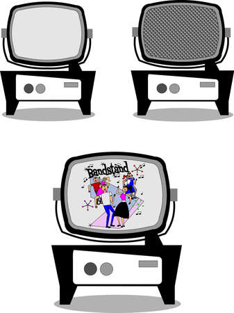 retro televisions with bandstand dancers Stock Vector - 10299322