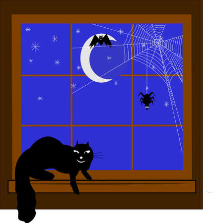 window sill: halloween elements