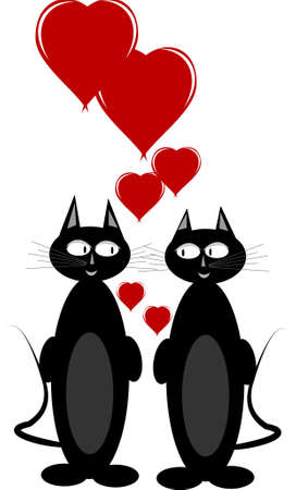cats in love on white with hearts Stock Vector - 10342242