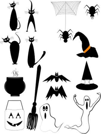 Halloween-Elemente auf weiß Vektorgrafik