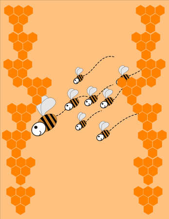 swarm of bees with honeycombs Vector