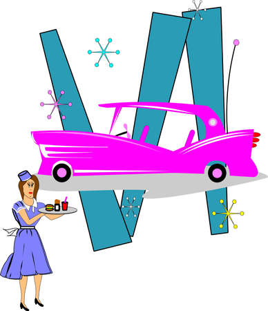 pink caddy from fifties with carhop Illustration