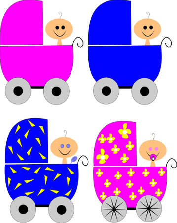 babies in carriages Stock Vector - 10378727