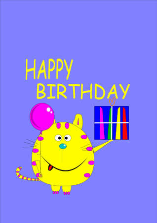 happy birthday cat greeting card  Çizim