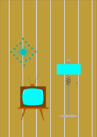 retro tv and lamp Stock Vector - 10412225