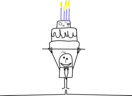 happy birthday from stickman Vector