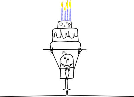 happy birthday from stickman Ilustrace