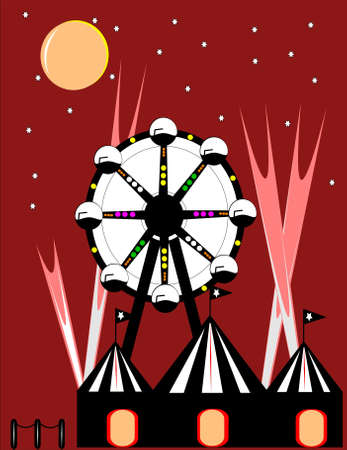 circus at night with ferris wheel Vectores