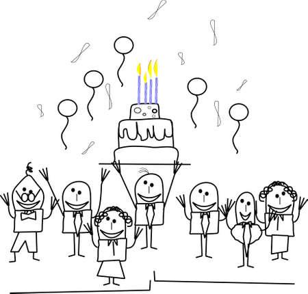 Stickmen Büro Geburtstagsparty Standard-Bild - 10429841