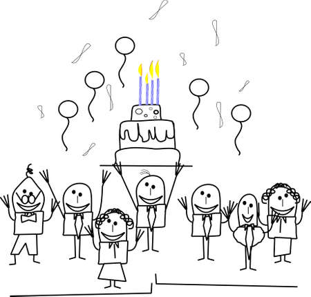 happy old age: stickmen office birthday party