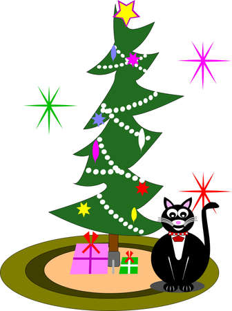 cat: christmas cat greeting Illustration