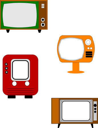 retro televisions on white Stock Vector - 10536299