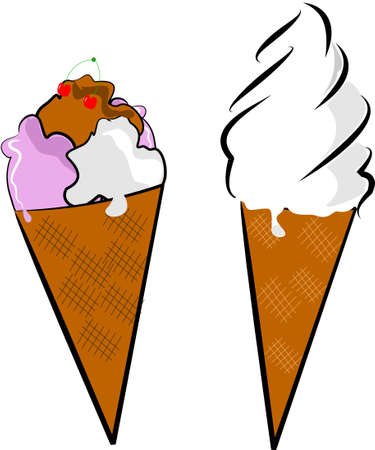 ice cream soft: ice cream cones  Illustration