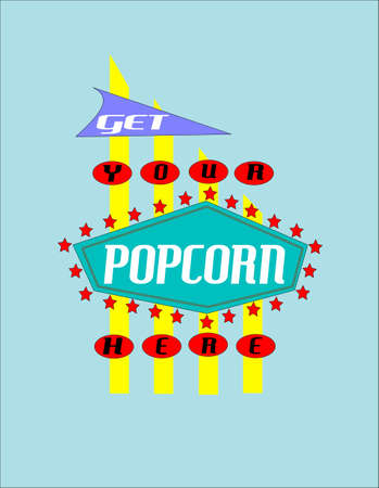retro: retro popcorn poster Illustration