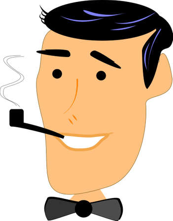 retro man smoking pipe Ilustracja