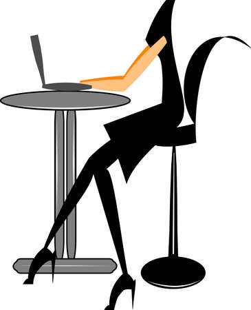 woman laptop: stylish woman at table with laptop Illustration